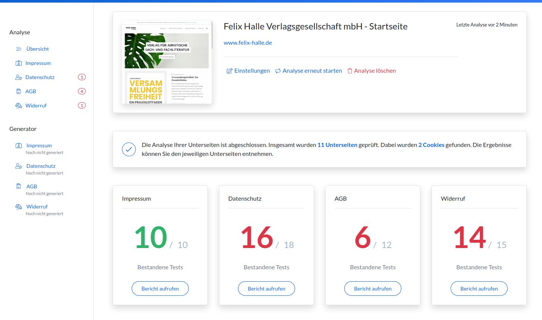 Screenshot der Anwendung